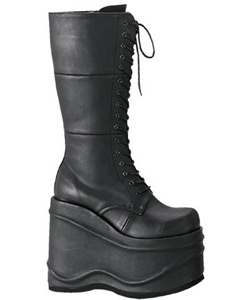 WAVE-302 Black Platform Boots