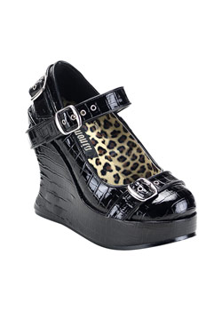 BRAVO-10 Black Patent Wedges
