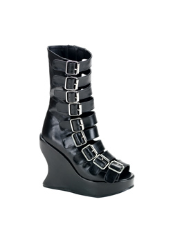 BRAVO-66 Black Buckle Wedges