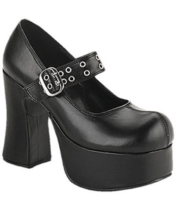 CHARADE-05 Black Platform Heels