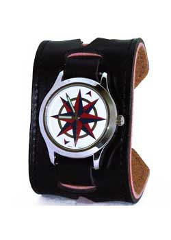 Compass Star Leather Band Watch
