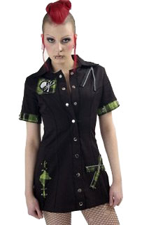 Death Rock Tartan Shirt Dress
