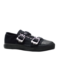 DEVIANT-11 Black Buckle Sneakers
