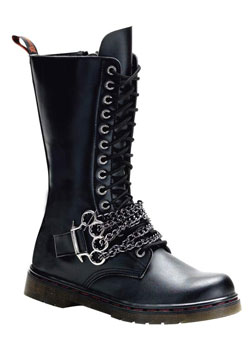 DISORDER-301 Black Chain Boots