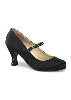FLAPPER-20 Black Satin Shoes