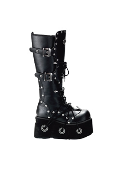 FURIOUS-301 Black Platform Boots