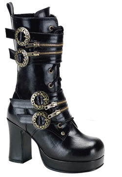 GOTHIKA-100 Black Steampunk Boots