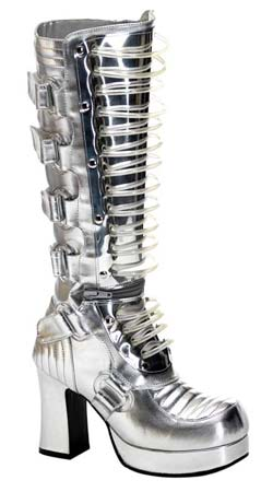 GOTHIKA-600UV Silver Cyber Boots