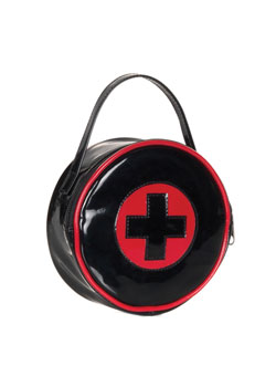 Black Red Cross Patent Handbag