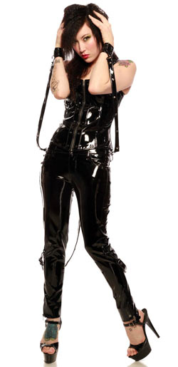 Womens gloss bondage pants