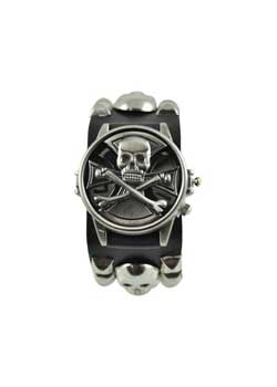 Metal Skull Spinning Leather Watch
