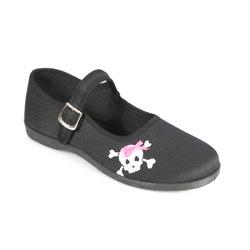 SASSIE-02 Black Skull Maryjanes