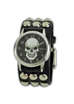 Skull watch with studs and spots wristband