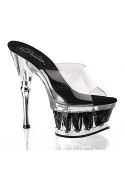 SPIKY-601MG Black Clear Heels