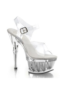 SPIKY-608 Clear Platform Heels