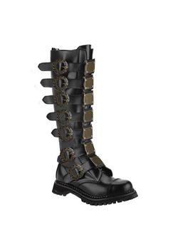STEAM-30 Black Leather Boots