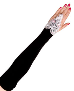 Velvet long f-loop lolita gloves-BW