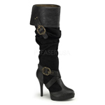 CARRIBEAN-216 Black Buckle Boots