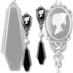Coffin Drop Cameo Earrings