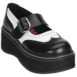 EMILY-302 Black White Maryjanes
