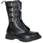 ATTACK-10 Black Leather Boots