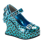 BRAVO-10 Turquoise Leopard Wedges