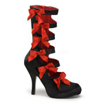 BURLESQUE-129 Black Satin Boots