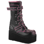 CLASH-435 Black Zigzag Boots