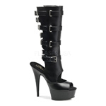 DELIGHT-1013 Black Buckle Heels
