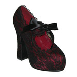 DEMON-11 Burgundy Lace Pumps