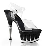 SPIKY-608 Black Clear Heels