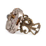 Square Steampunk Watch Movement Ring