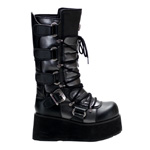 TRASHVILLE-519 Black Platform Boots