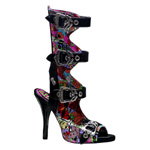 ZOMBIE-102 Black Graffiti Boots
