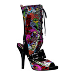 ZOMBIE-103 Black Graffiti Boots