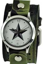 Army Green Star Leather Cuff Quartz Watch
